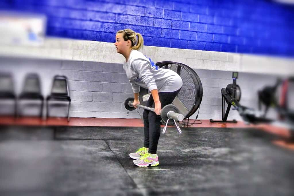 Madison's first time doing hang power snatches. Look at that set up position!