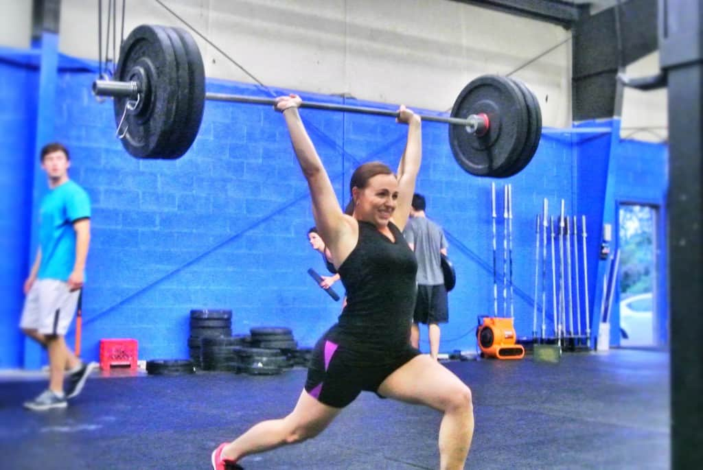 Sarah hitting a split jerk PR