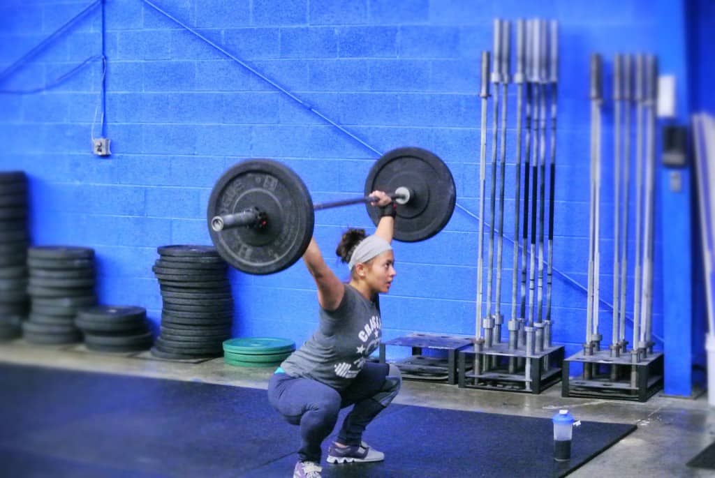 Katelyn doing her most favorite thing ever: Overhead squats