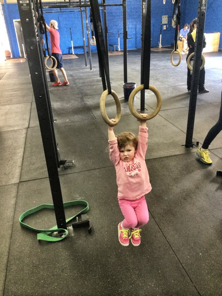 Mini Seaneen practicing her muscle-ups
