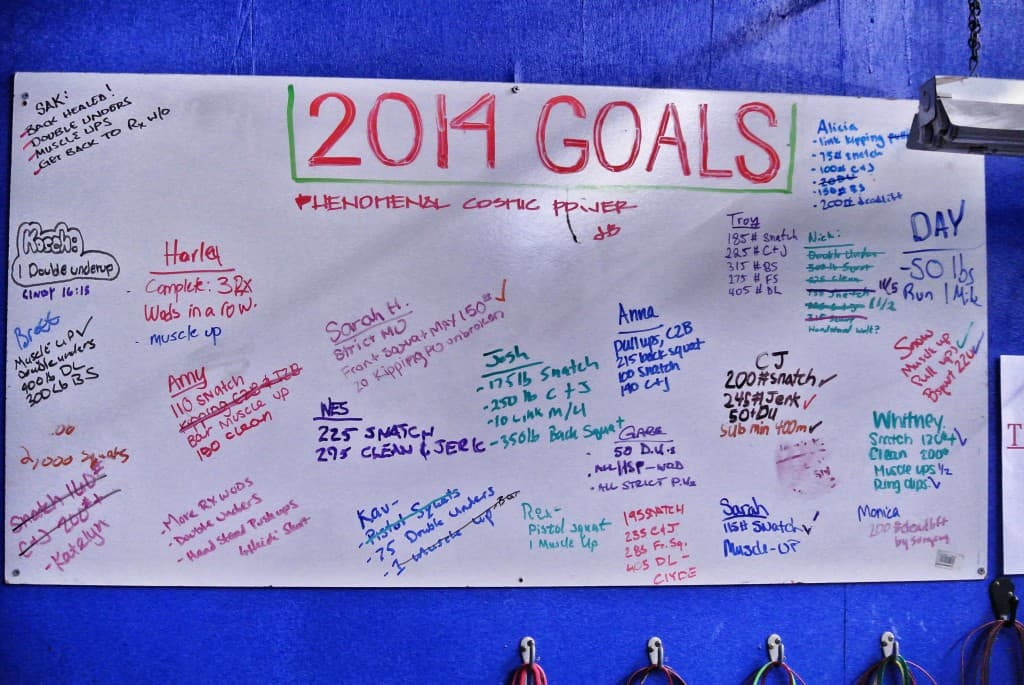 We're a month late, but this board is now erased and ready for new goals. Please write your goals as a reminder to always work toward them!